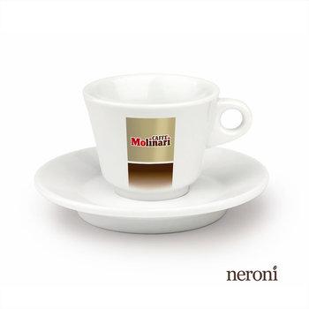 Italienische Cappuccino-Tasse von Molinari, Set mit 2 Tassen und Untertellern