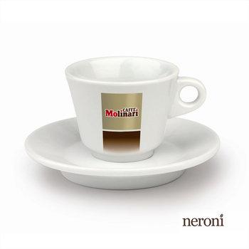 Italienische Caffè-Latte-Tasse von Molinari, Set mit 2 Tassen und Untertellern